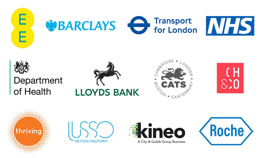 Client Logos including EE, Barclays, Transport for London, NHS, Department for Health, Lloyds Bank amongst more.